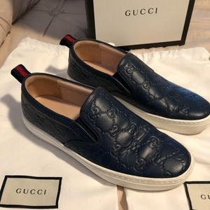 Gucci signature blue slip on sneaker
